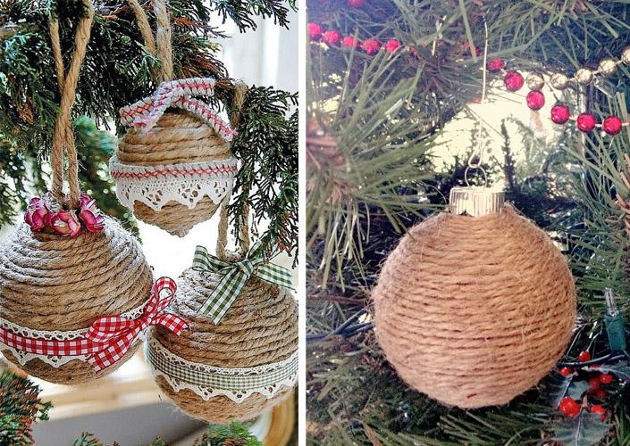 Vianočné ozdoby zo špagátu